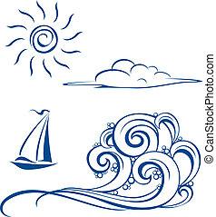 Ondas de bote, nubes y sol
