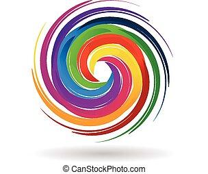 Ondas de logo con colores de arco iris