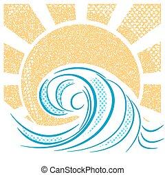 Ondas marinas antiguas y sol. Ilustración vectorial del paisaje marino