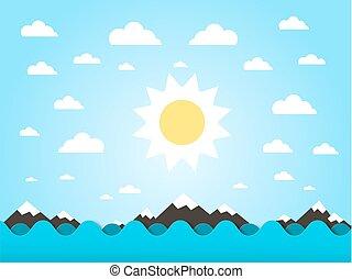 Ondas marinas con vector solar dibujos de diseño plano