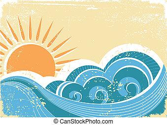 Ondas marinas. Ilustración de vector de vitrina del paisaje marino