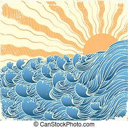 Ondas marinas. Ilustración vectorgrunge del paisaje marino con sol