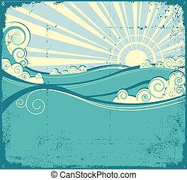 Ondas marinas. Ilustración viscera del paisaje marino
