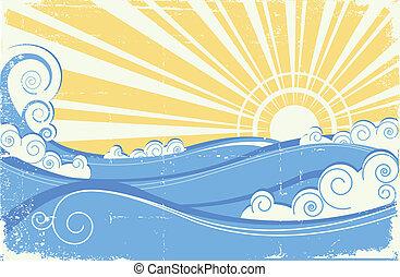 Ondas marinas llenas. Ilustración del vector del paisaje marino con sol