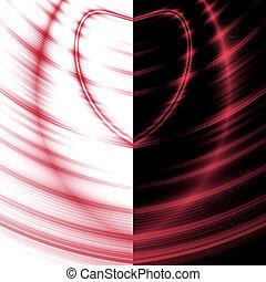 Ondas rojas de corazón en un fondo negro contraste
