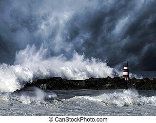 Ondas tormentosas contra faros