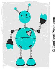ondulación, adorable, robot