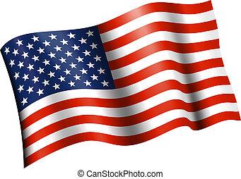 ondulación, plano, bandera estadounidense