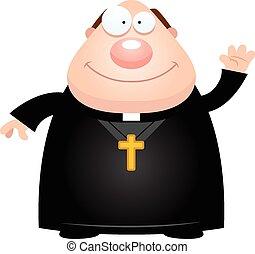 ondulación, sacerdote, caricatura