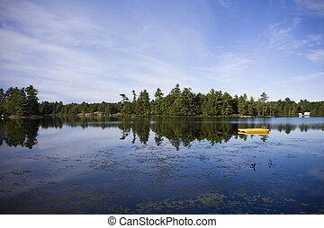 ontario, tiro, país, agua de lago, muskoka, calma, cabaña