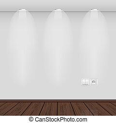 opción, vacío, interior, pared, mejor, vector, illustration., parquet.