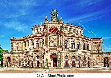 opera), concierto, sajonia, germany., staatsoper, sachsische, vestíbulo, casa, semperoper, dresden., dresden, staatskapelle, estado, (saxon, ópera