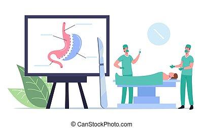 operación, peso, macho, procedure., pérdida, estómago, cirugía, médico, caracteres, bariatric, reducción, marca, cirujano, operable
