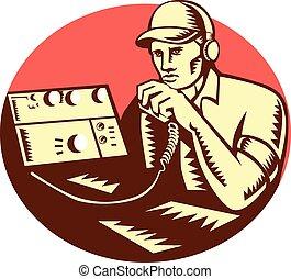 Operador de radio de Ham Circle Woodcut
