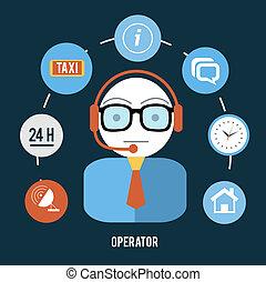 Operadora con distintos íconos