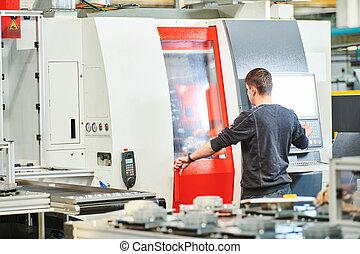 operar, metal, cnc, trabajador de la industria, mecanizando, industrial, máquina