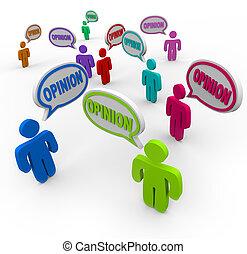 Opiniones que hablan de comentarios y de burbujas de habla
