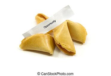 oportunidad, galleta china con un mensaje sobre la suerte