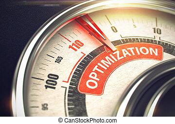Optimización: El concepto de modo de negocios en velocímetro. 3D.