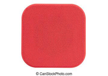 Orador bluetooth rojo aislado en fondo blanco