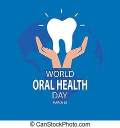 oral, concept., mundo, salud, marzo, día, 20.