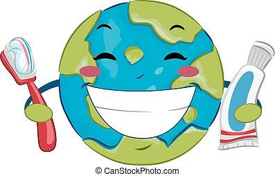 oral, mundo, pasta dentífrica, salud, día, cepillo de dientes, tierra
