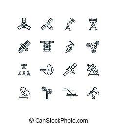 Orbit comunicación vía satélite iconos de línea vectorial