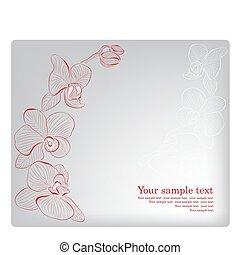orchid., card., madre, saludo, vector, día