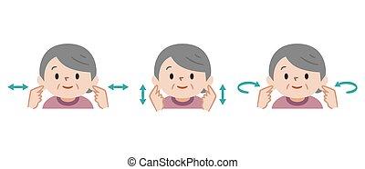 oreja, extensión, ilustración, mujer mayor