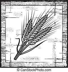 Orejas de cereales de retro en blanco y negro