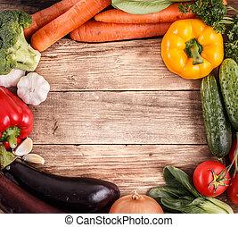 orgánico, espacio, vegetales, text., comida., madera, plano de fondo