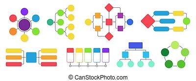 organigrama, conjunto, vector, empresa / negocio, gráficos, workflow, flujo, infographics, diagramas, aislado, gráfico, fluir, diagram., estructural