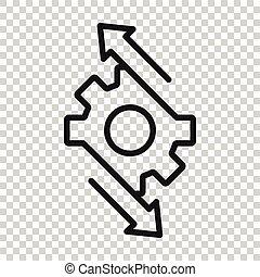 organización, concept., vector, ilustración, blanco, proceso, icono, style., fondo., plano, engranaje, workflow, aislado, eficaz, empresa / negocio