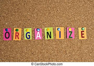 organizar, palabra