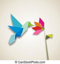 origami, colibrí