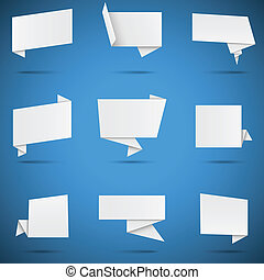 origami, discurso, blanco, burbujas