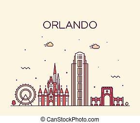 Orlando Skyline Florida USA vector linear estilo