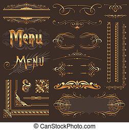 Ornad elementos de diseño dorado y decoración de páginas