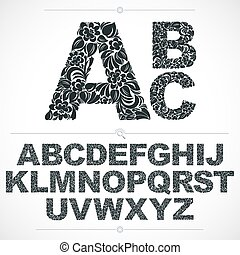 ornamental, cartas, alfabeto, lettering., pattern., blanco, botánico, hand-drawn, vector, diseño, vendimia, floral, fuente, adornado, mecanografiado, capital, negro