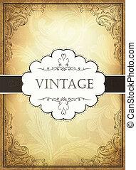 ornamental, eps10, frame., ilustración, vendimia, vector, plano de fondo