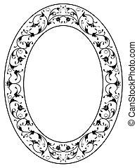 ornamental, marco, floral, negro, oval, oriental