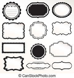 ornamental, marco, vector, conjunto, vendimia
