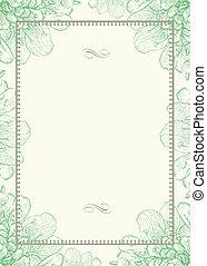 ornamental, marco, vector, fondo verde, floral