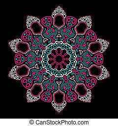 ornamental, redondo, encaje