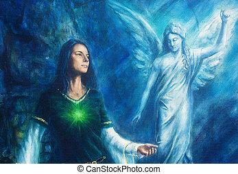 ornamento, concept., pintura, espiritual, vestido, fondo., angel., místico, lona, histórico, resumen, mujer, azul