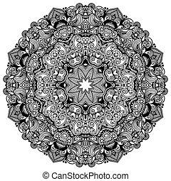 Ornamento de encaje en círculos, patrones geométricos ornamentales, colección blanca y negra