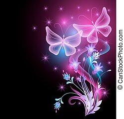 Ornamento de flores, estrellas y mariposas mágicas