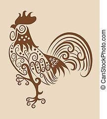 Ornamento de gallo antiguo