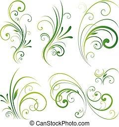 Ornamento de pergamino floral