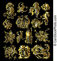 Ornamento floral de elementos antiguos de decoración dorada